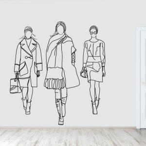 muurillustratie met drie mannequins-2