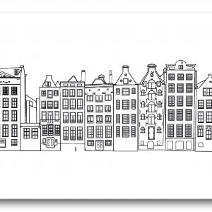 muurillustratie met skyline Amsterdam
