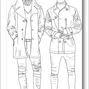 Muurillustratie met twee mannequins