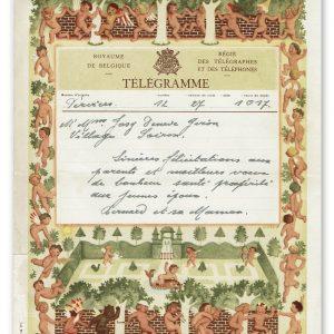 vintage kunst telegram met engeltjes