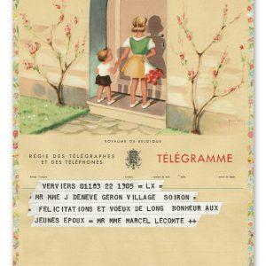 vintage kunst telegram met 2 kinderen