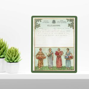 vintage kunst telegram met 4 vrouwen en bloemen-3