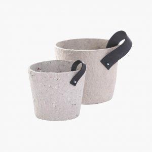 Gerecyclede bloempotten papier grijs 01